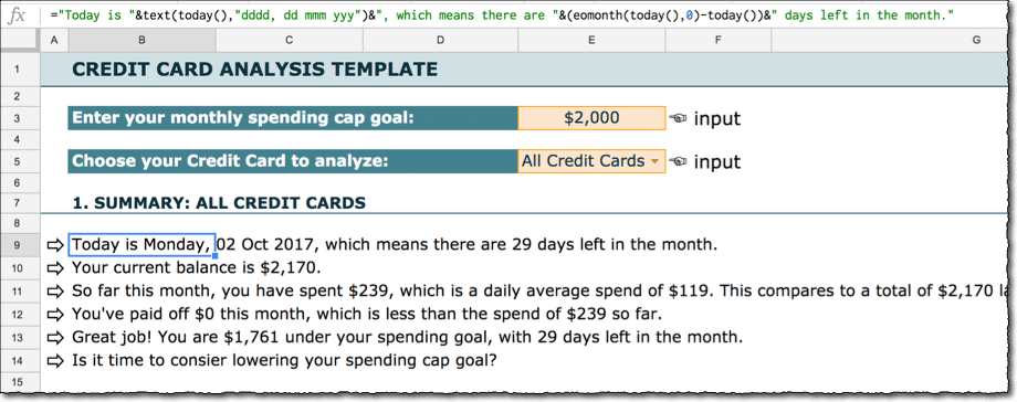 Credit Card budget template text formulas