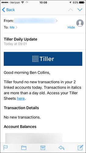 Tiller daily email