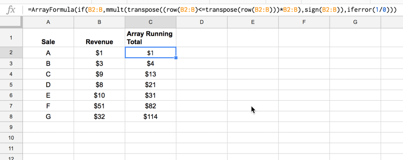 Array formula running total
