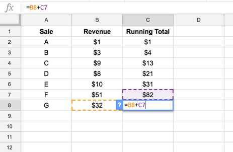 Running total calculations in Google Sheets, using Array