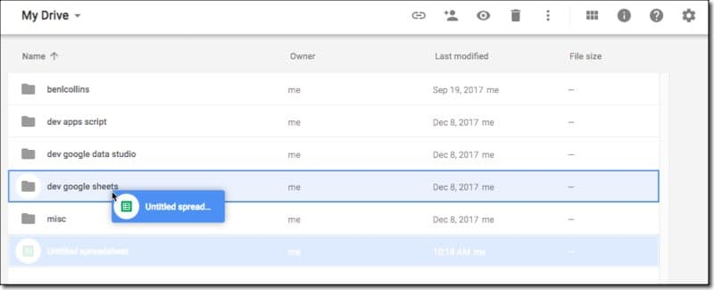 Moving the Google spreadsheet in Drive