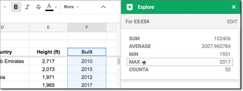 Google Sheets Explore insights