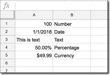 Using Google Sheets: Basic data types