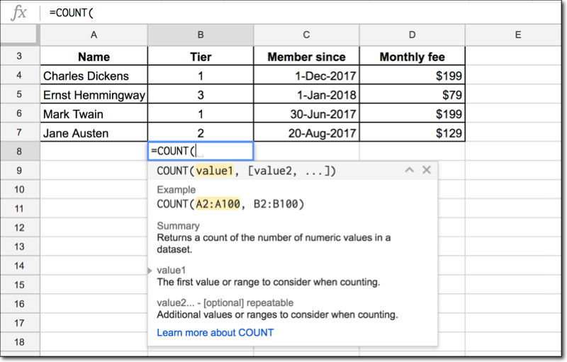 Using the Google Sheets formula helper