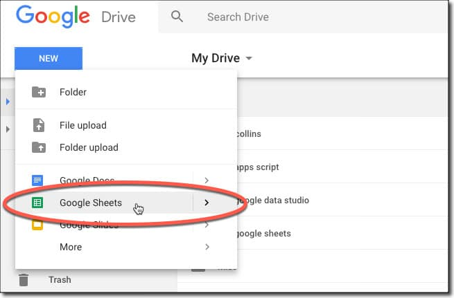 Create a Google Sheet from Drive