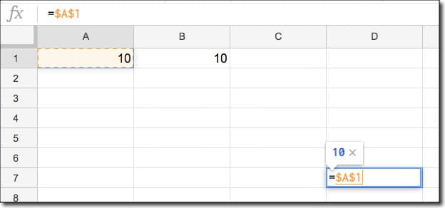 Google Sheets Absolute and Relative references