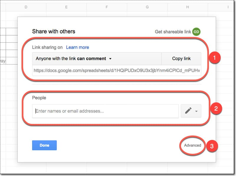 Google Sheets sharing settings