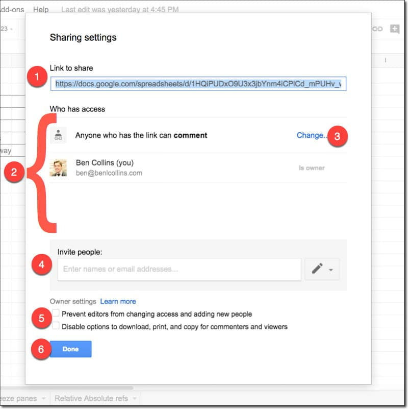 Google spreadsheets that share advanced settings