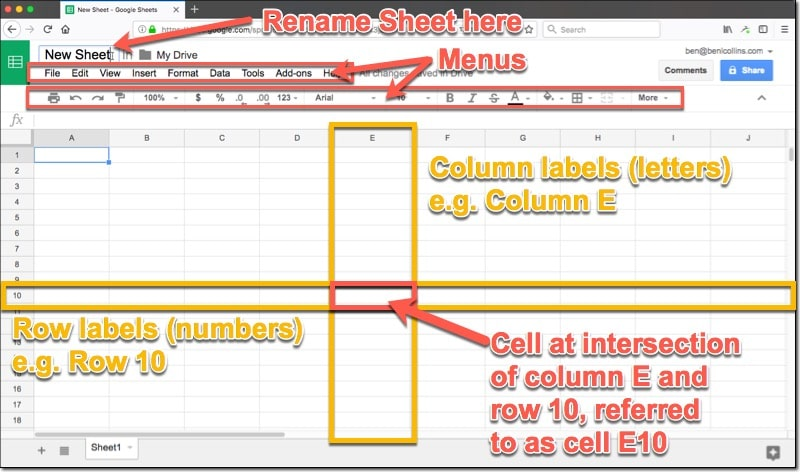 How to use Google Sheets: terminology