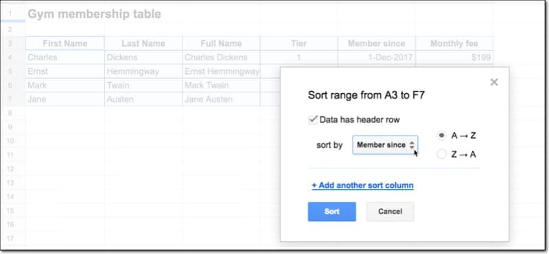 Google Sheets sort range