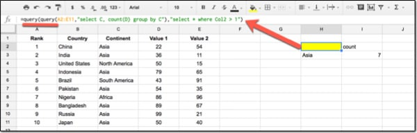 How to do a Query without the HAVING function in Google Sheet