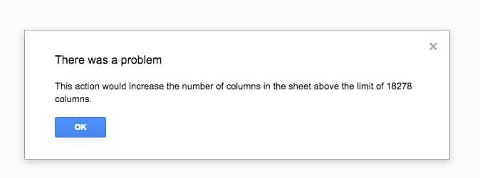 Google Sheets max columns