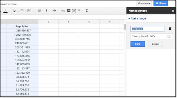 Google Sheets Named range menu detail