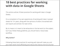 Data Best Practices Google Sheets