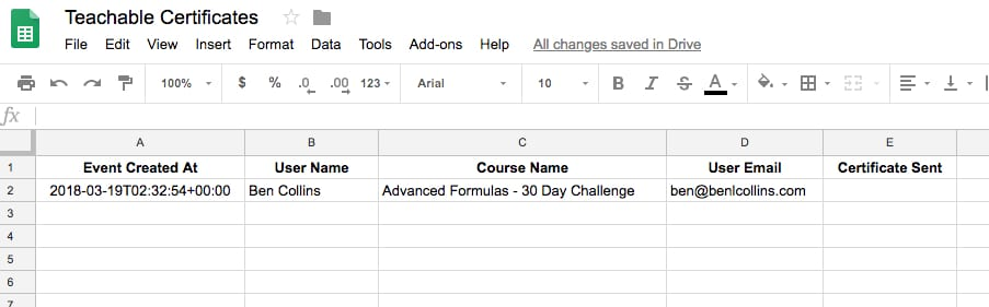Teachable Google Sheet data