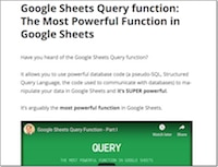 Google Sheets Query Function