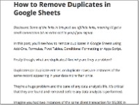 remove Duplicates in Google Sheets