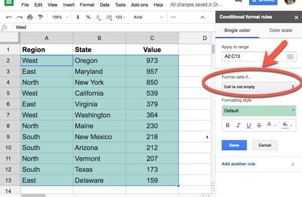 Conditional Formatting sidebar