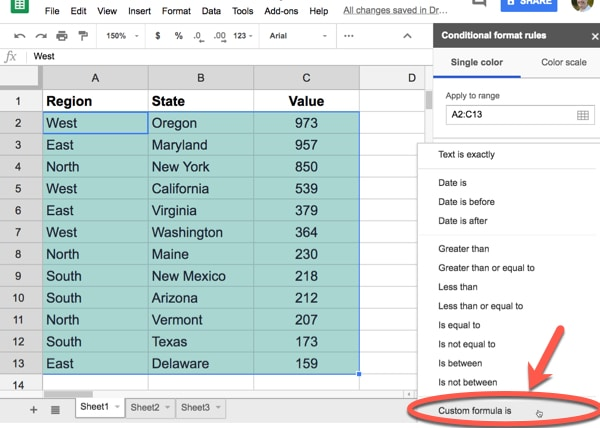 How to apply conditional formatting across an entire row in Google