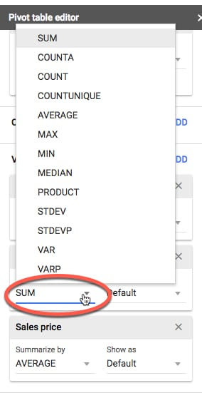 Pivot Table aggregation menu