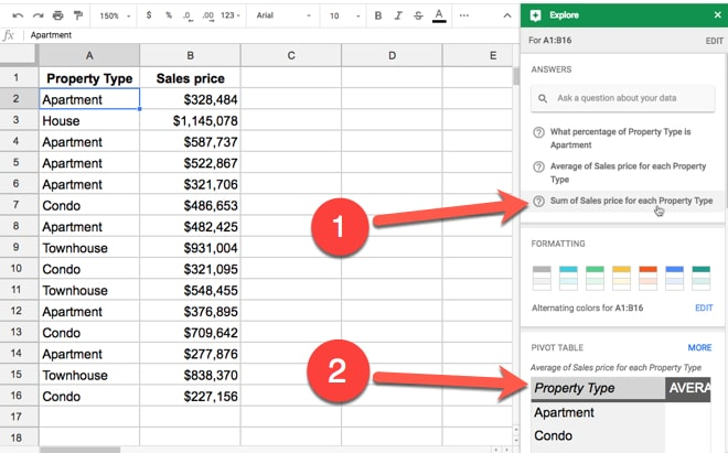 Explore tool in Google Sheets
