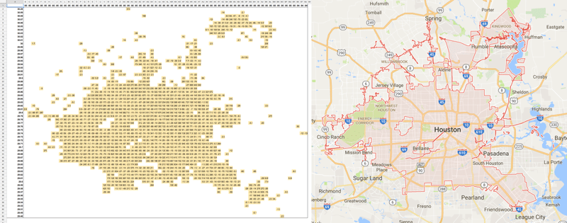 Houston pivot table map