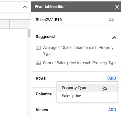 Pivot Table editor