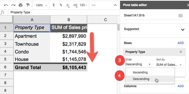 Pivot Table sort ascending or descending