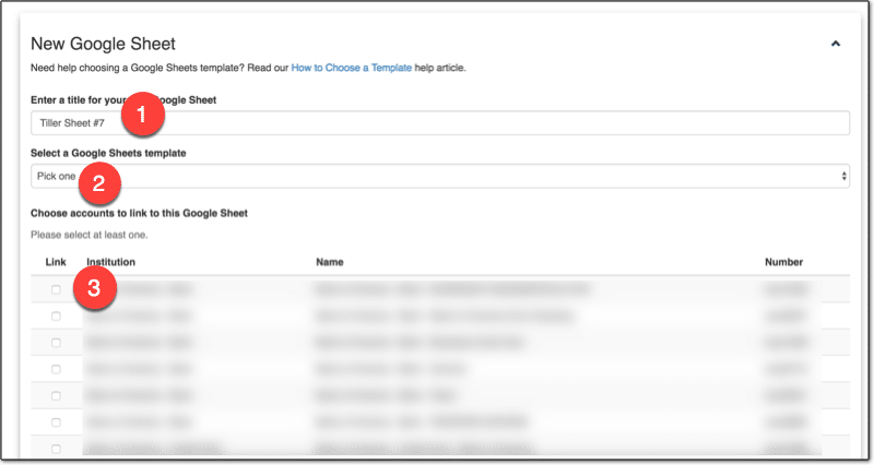 Create new Google Sheet with Tiller