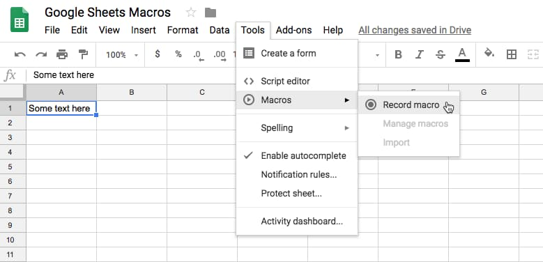 Google Sheets macro menu