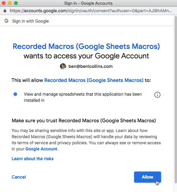 Macro grant permissions