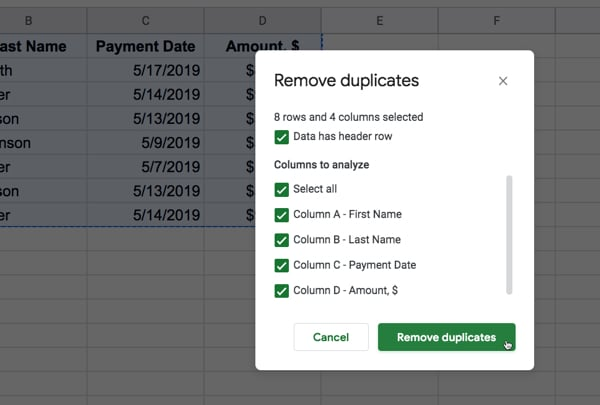 Choose duplicate columns
