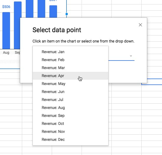 How can I format individual data points in Google Sheets