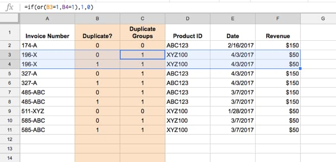 Highlight duplicate groups in Google Sheets using an IF formula