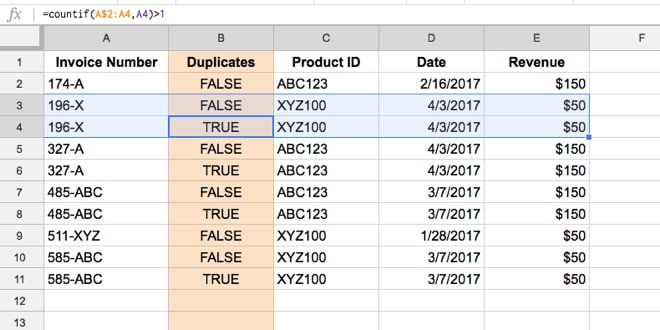 Highlight duplicates in Google Sheets