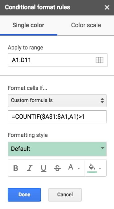 Highlight duplicates in Google Sheets with Conditional Formatting