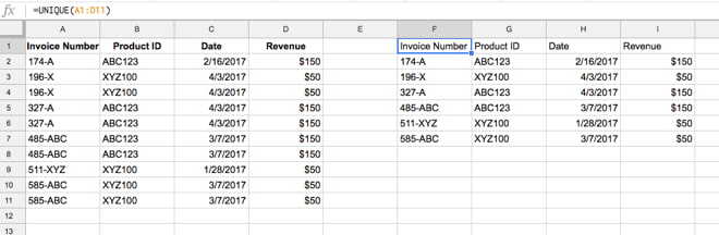 Unique formula to remove duplicates in Google Sheets