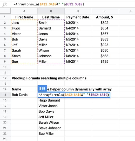 How to Vlookup Multiple Criteria and Columns in Google Sheets
