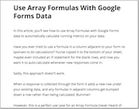 Array Formulas with Google Forms
