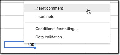 Insert comment in Google Sheets