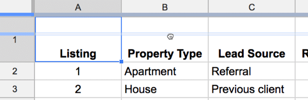 Freeze panes in Google Sheets 2