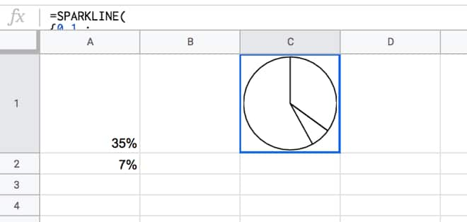 Google Sheets sparkline pie chart