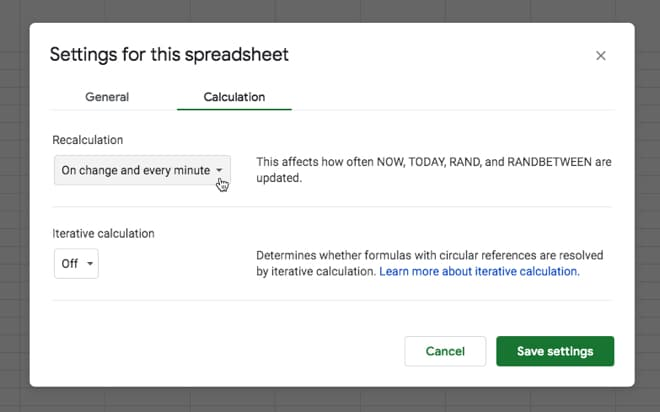Google Sheet spreadsheet settings