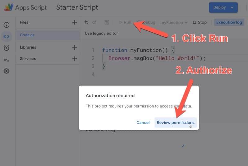 Google Apps Script Authorization