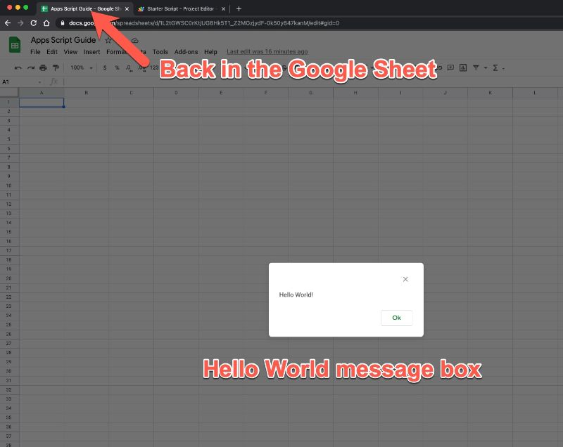 Message Box Google Sheets