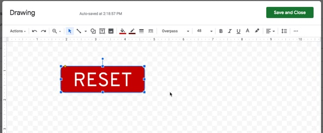 Google Sheets button drawing
