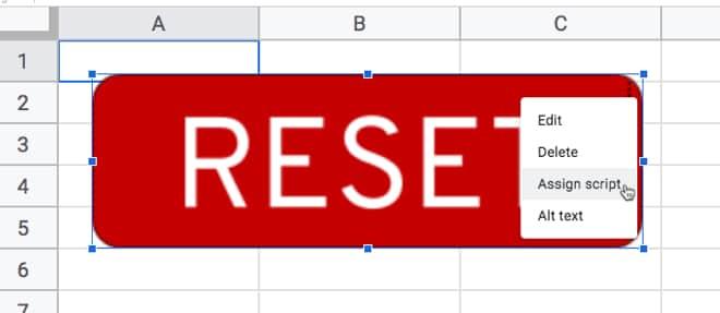 Google Sheets button assign script