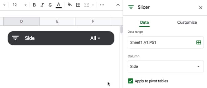 Slicer column added