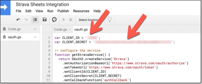 Oauth client id and secret in Apps Script
