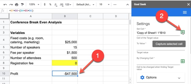 Select cells in Goal Seek for Sheets